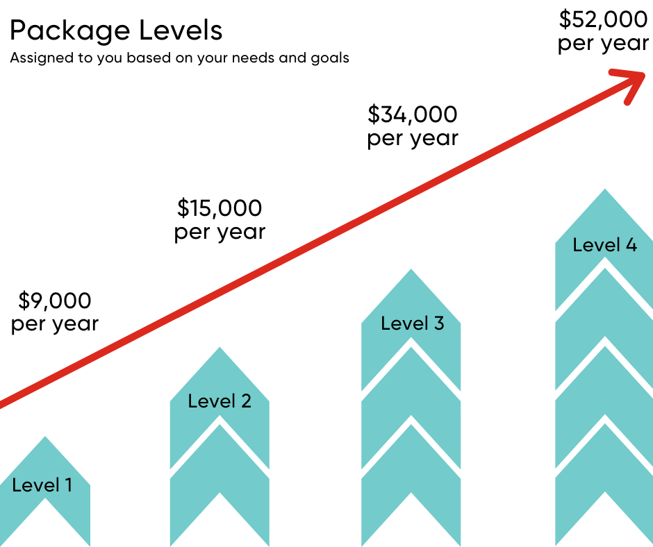 Graphic showing the range of funding available at each home care package level. Level 1 is $9,000 per year, Level 2 is $15,000 per year, Level 3 is $34,000 per year, and Level 4 is $52,000 per year.
